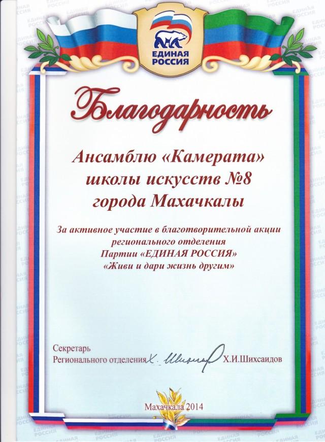 Грамота 2 Единая Россия - Камерата